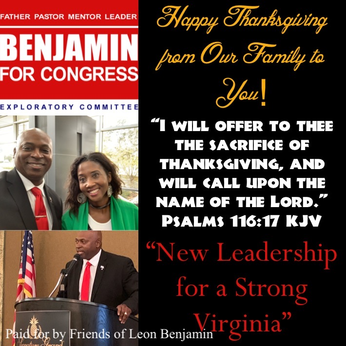 Benjamin for Congress Virginia - Happy Thanksgiving