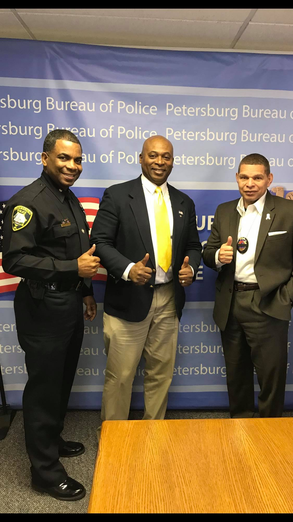 We discussed the strategies for Petersburg Va and how to get economic revitalization started and he also allowed me to pray for the police department and protection for all workers