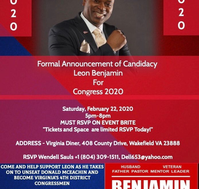 Benjamin for Congress in Virginia Republican 4th congressional district