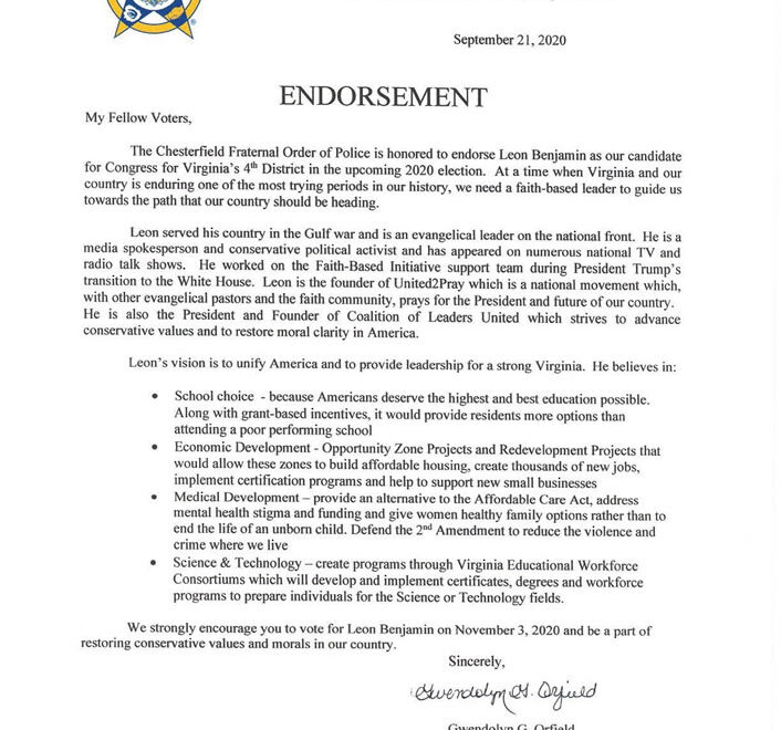 Leon Benjamin endorsed by the Chesterfield Fraternal Order of Police