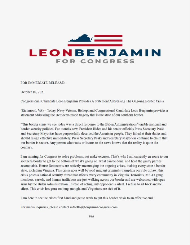 Congressional candidate Leon Benjamin provides a statement addressing the ongoing border crisis